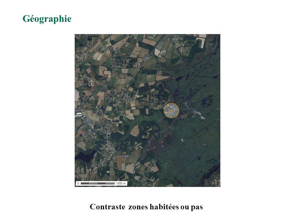 Contraste zones habitées ou pas Géographie