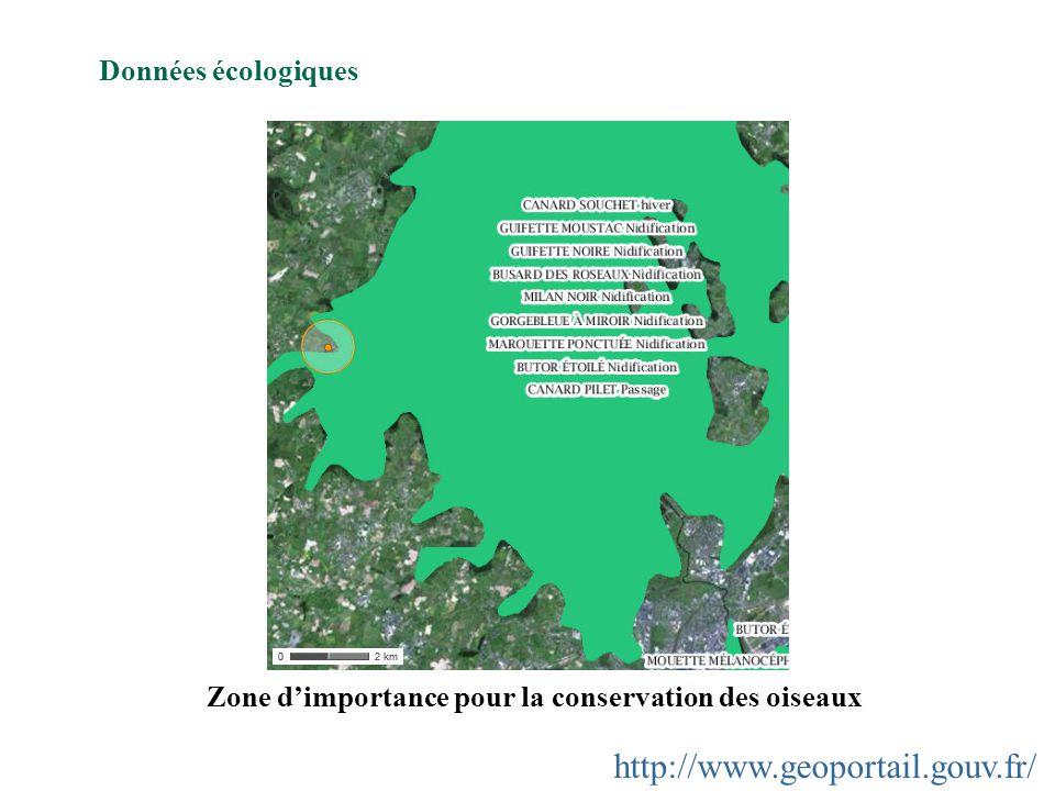 http://www.geoportail.gouv.fr/ Données écologiques Zone dimportance pour la conservation des oiseaux
