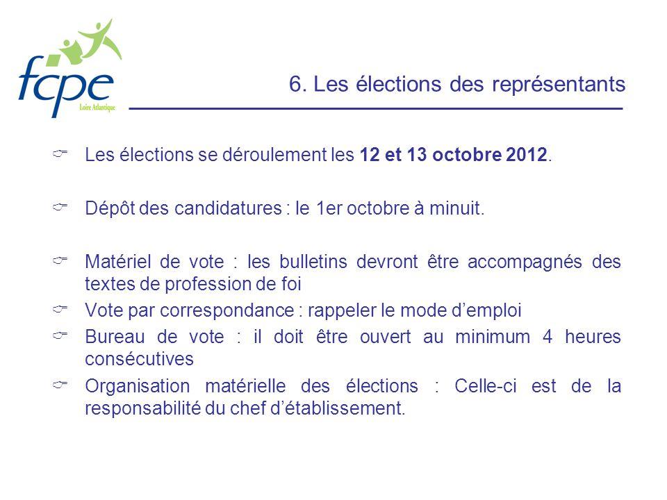 6. Les élections des représentants Les élections se déroulement les 12 et 13 octobre 2012. Dépôt des candidatures : le 1er octobre à minuit. Matériel