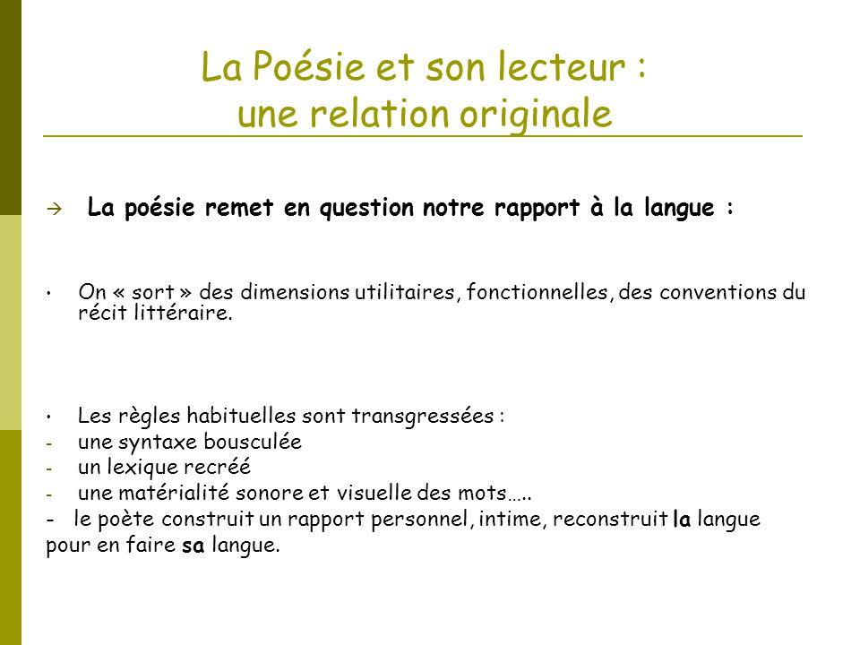 La Poésie et son lecteur : une relation originale La poésie remet en question notre rapport à la langue : On « sort » des dimensions utilitaires, fonc