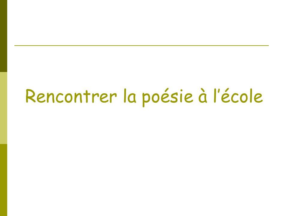 La Poésie à lécole….pourquoi .Comment .