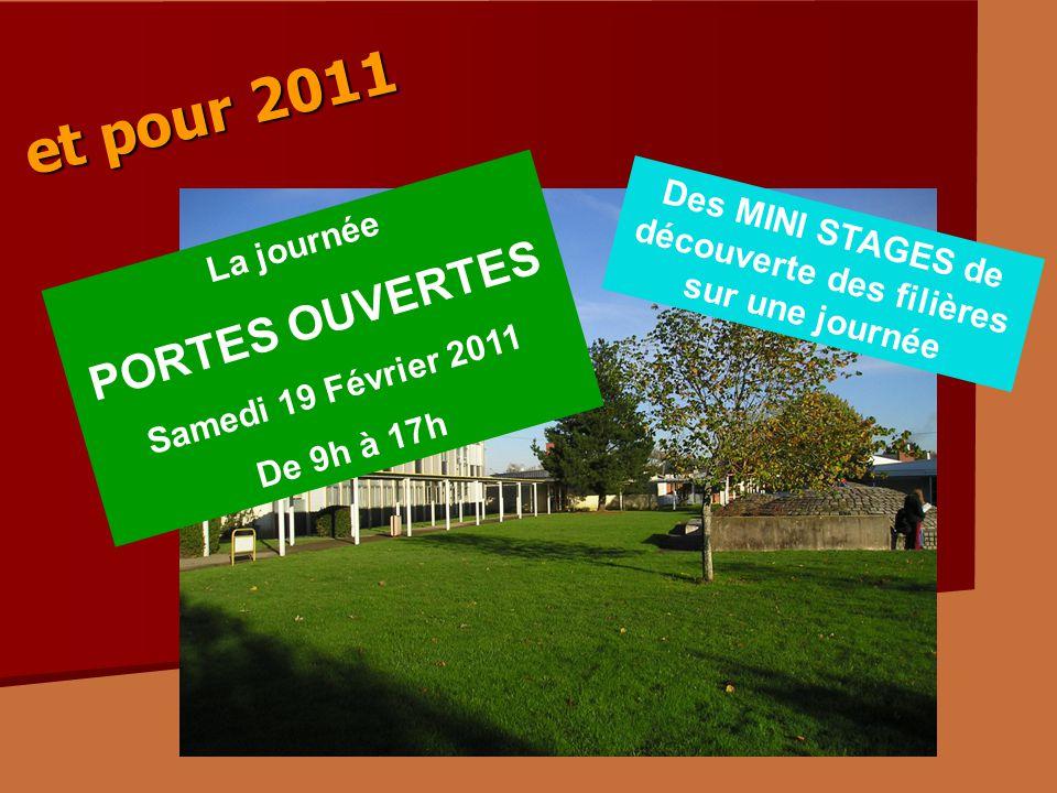La journée PORTES OUVERTES Samedi 19 Février 2011 De 9h à 17h Des MINI STAGES de découverte des filières sur une journée et pour 2011