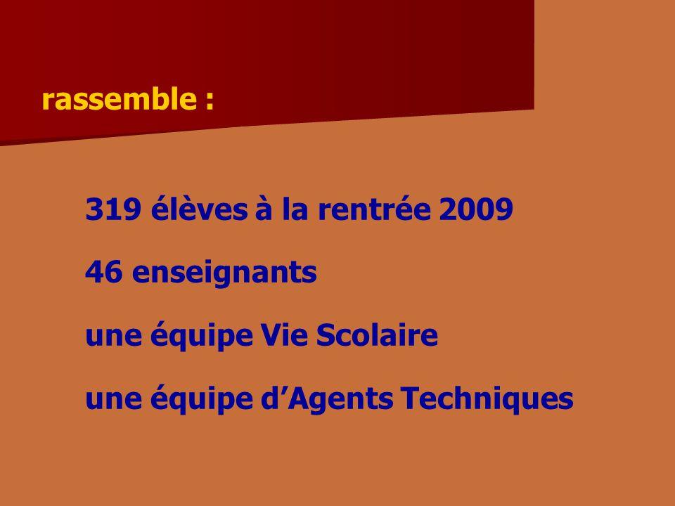 rassemble : 319 élèves à la rentrée 2009 46 enseignants une équipe Vie Scolaire une équipe dAgents Techniques