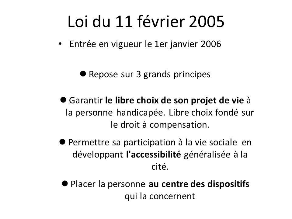 Loi du 11 février 2005 Entrée en vigueur le 1er janvier 2006 Garantir le libre choix de son projet de vie à la personne handicapée.
