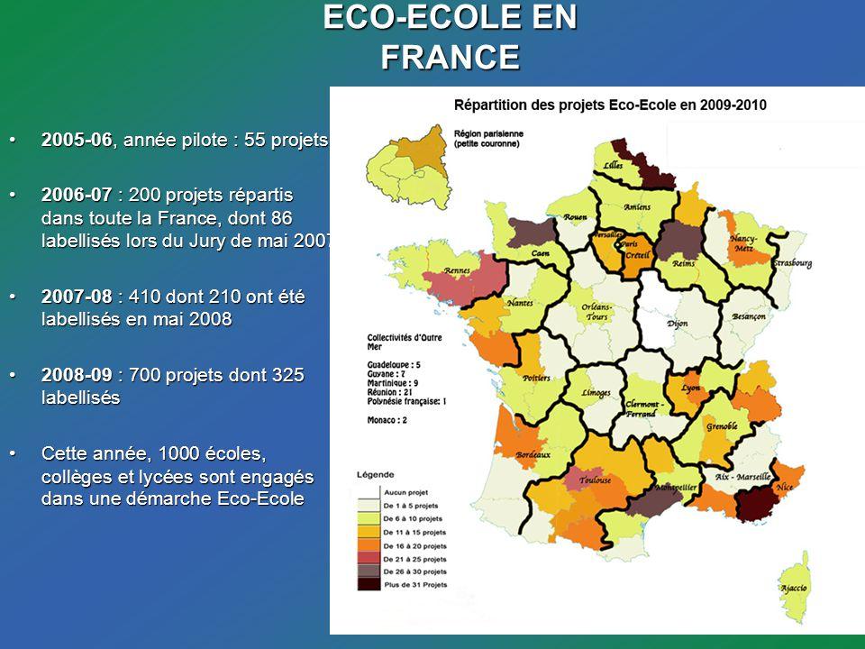 ECO-ECOLE EN FRANCE 2005-06, année pilote : 55 projets2005-06, année pilote : 55 projets 2006-07 : 200 projets répartis dans toute la France, dont 86 labellisés lors du Jury de mai 20072006-07 : 200 projets répartis dans toute la France, dont 86 labellisés lors du Jury de mai 2007 2007-08 : 410 dont 210 ont été labellisés en mai 20082007-08 : 410 dont 210 ont été labellisés en mai 2008 2008-09 : 700 projets dont 325 labellisés2008-09 : 700 projets dont 325 labellisés Cette année, 1000 écoles, collèges et lycées sont engagés dans une démarche Eco-EcoleCette année, 1000 écoles, collèges et lycées sont engagés dans une démarche Eco-Ecole
