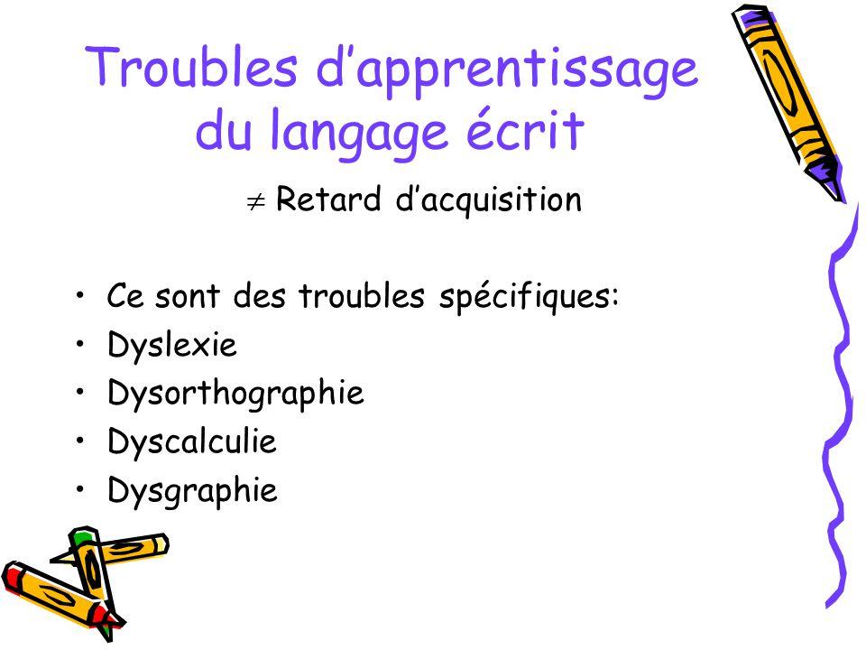 Troubles dapprentissage du langage écrit Retard dacquisition Ce sont des troubles spécifiques: Dyslexie Dysorthographie Dyscalculie Dysgraphie