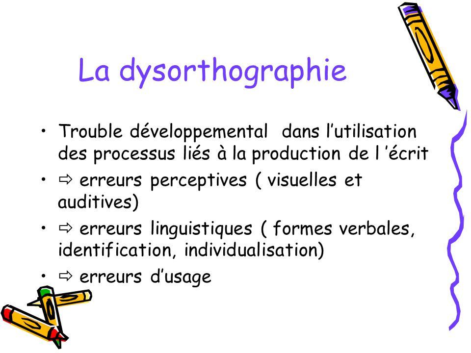La dysorthographie Trouble développemental dans lutilisation des processus liés à la production de l écrit erreurs perceptives ( visuelles et auditive