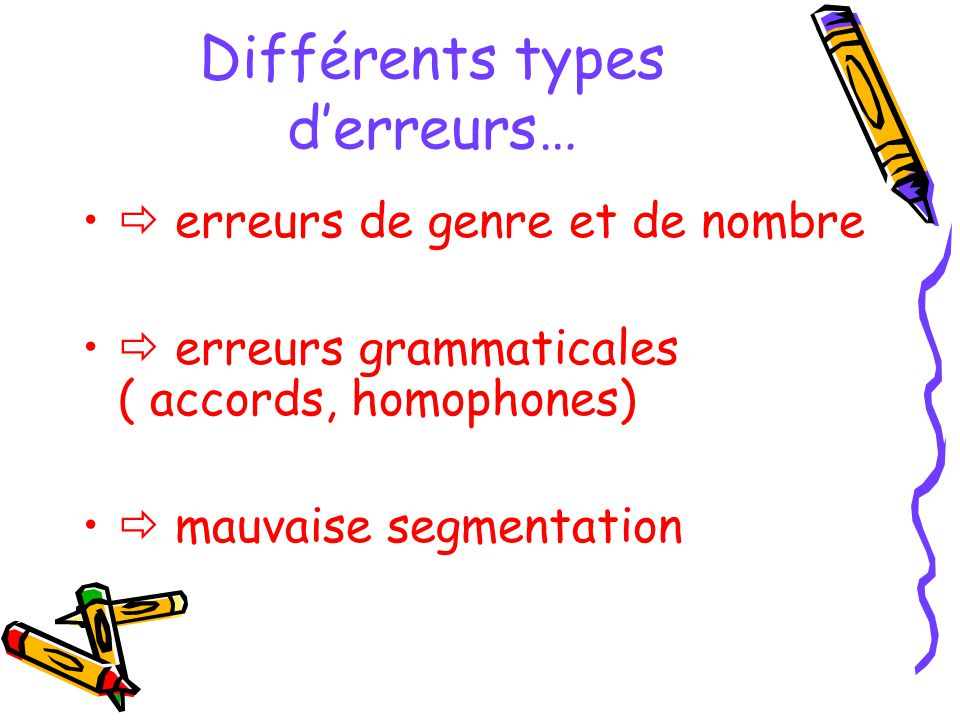 Différents types derreurs… erreurs de genre et de nombre erreurs grammaticales ( accords, homophones) mauvaise segmentation