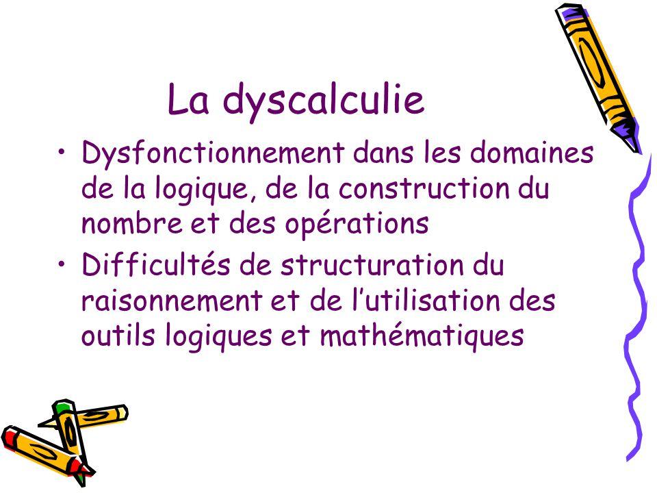 La dyscalculie Dysfonctionnement dans les domaines de la logique, de la construction du nombre et des opérations Difficultés de structuration du raiso