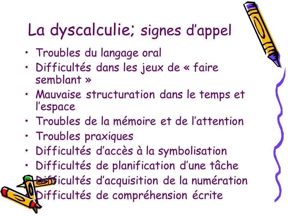 La dyscalculie ; signes dappel Troubles du langage oral Difficultés dans les jeux de « faire semblant » Mauvaise structuration dans le temps et lespac