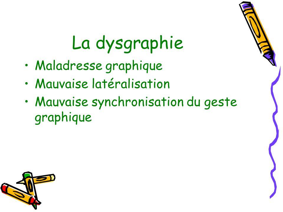 La dysgraphie Maladresse graphique Mauvaise latéralisation Mauvaise synchronisation du geste graphique