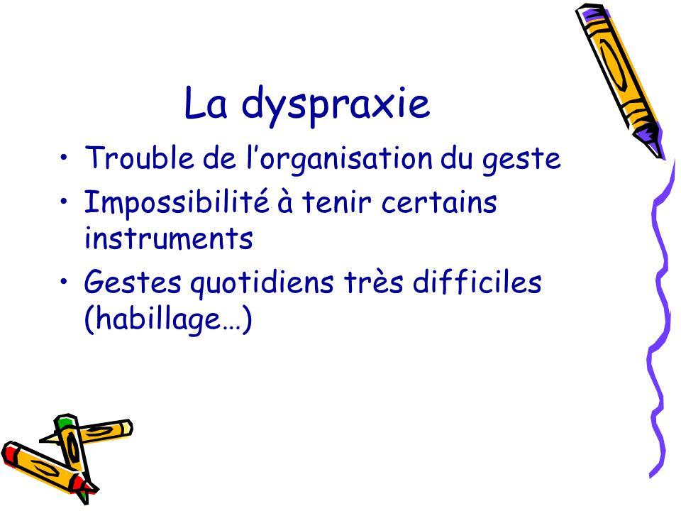 La dyspraxie Trouble de lorganisation du geste Impossibilité à tenir certains instruments Gestes quotidiens très difficiles (habillage…)