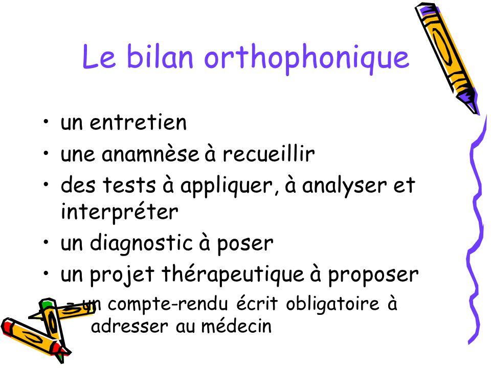 Le bilan orthophonique un entretien une anamnèse à recueillir des tests à appliquer, à analyser et interpréter un diagnostic à poser un projet thérape