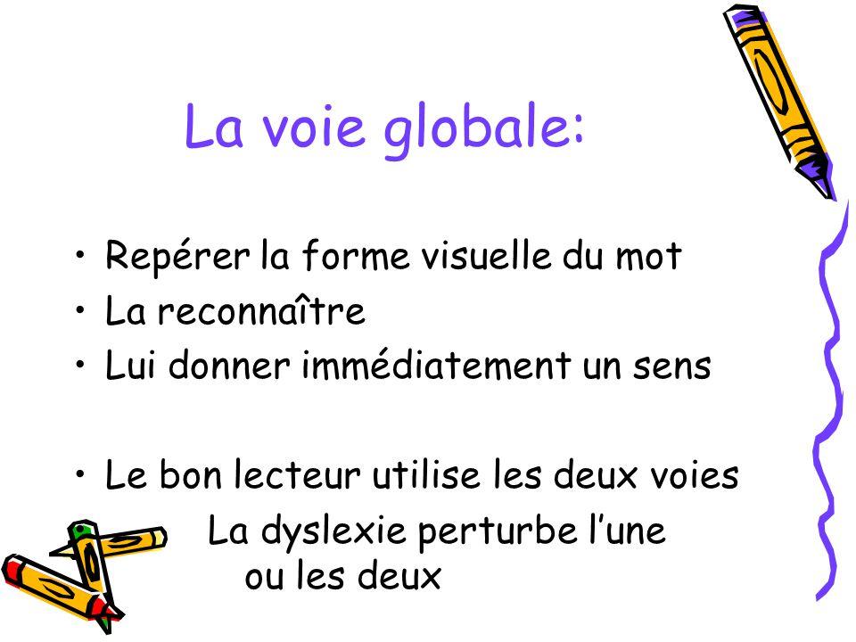La voie globale: Repérer la forme visuelle du mot La reconnaître Lui donner immédiatement un sens Le bon lecteur utilise les deux voies La dyslexie pe