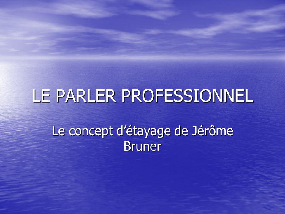 LE PARLER PROFESSIONNEL Le concept détayage de Jérôme Bruner