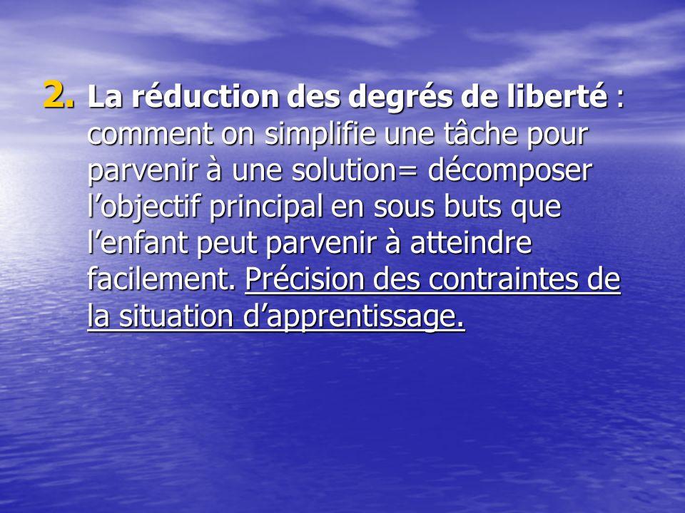 2. La réduction des degrés de liberté : comment on simplifie une tâche pour parvenir à une solution= décomposer lobjectif principal en sous buts que l