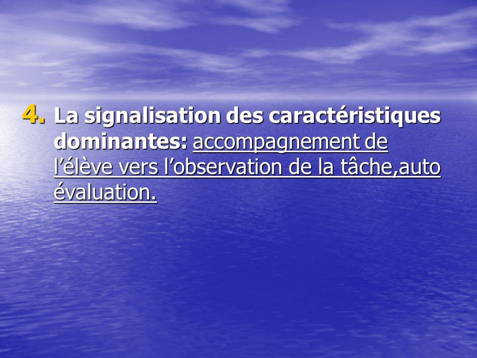 4. La signalisation des caractéristiques dominantes: accompagnement de lélève vers lobservation de la tâche,auto évaluation.