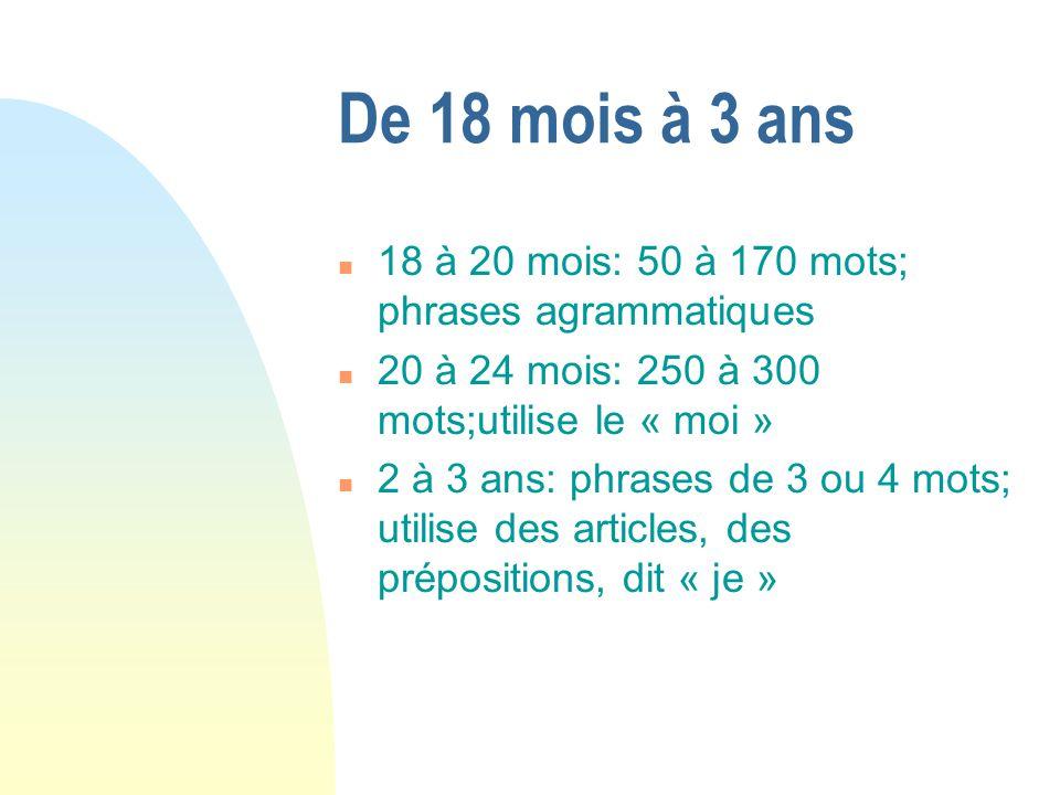 De 18 mois à 3 ans n 18 à 20 mois: 50 à 170 mots; phrases agrammatiques n 20 à 24 mois: 250 à 300 mots;utilise le « moi » n 2 à 3 ans: phrases de 3 ou