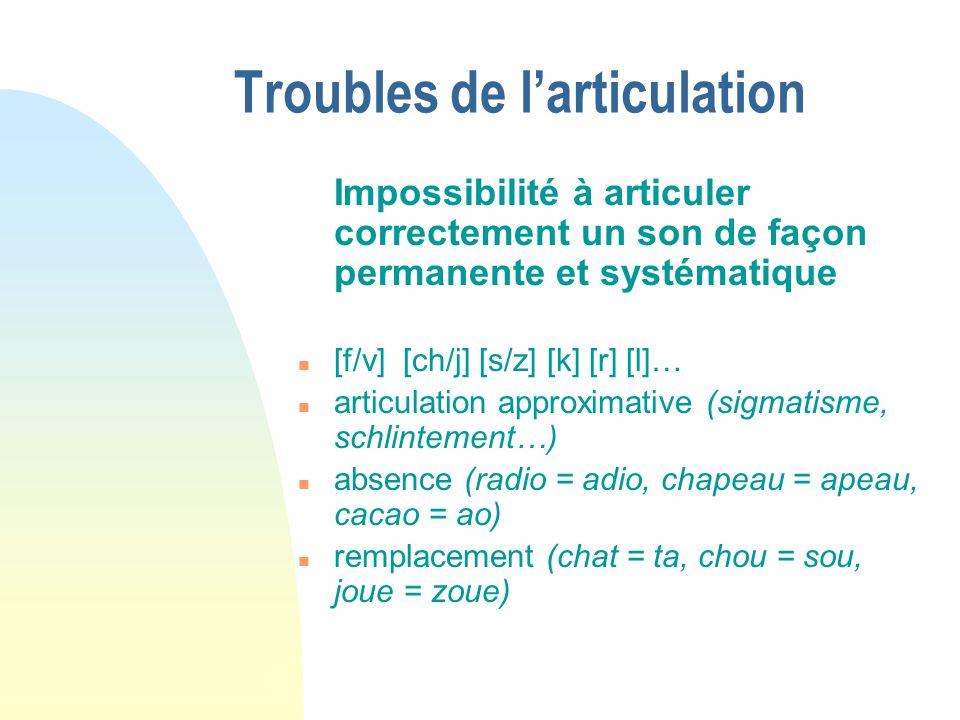 Troubles de larticulation Impossibilité à articuler correctement un son de façon permanente et systématique n [f/v] [ch/j] [s/z] [k] [r] [l]… n articu