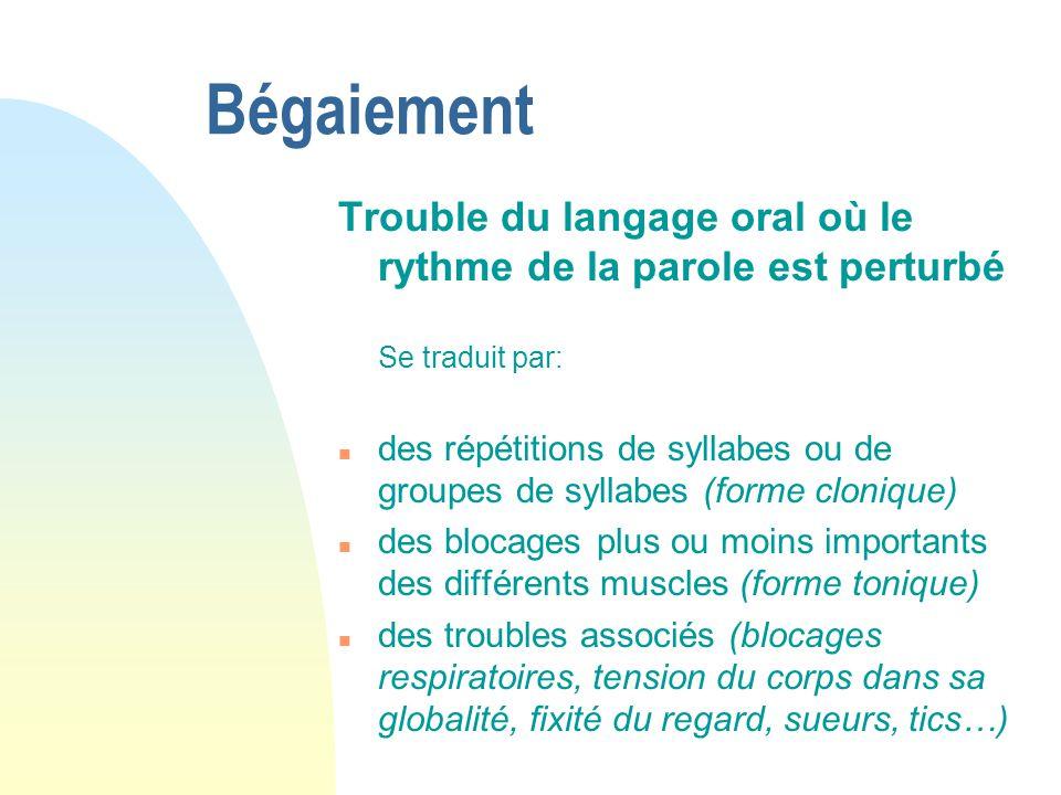 Bégaiement Trouble du langage oral où le rythme de la parole est perturbé Se traduit par: n des répétitions de syllabes ou de groupes de syllabes (for