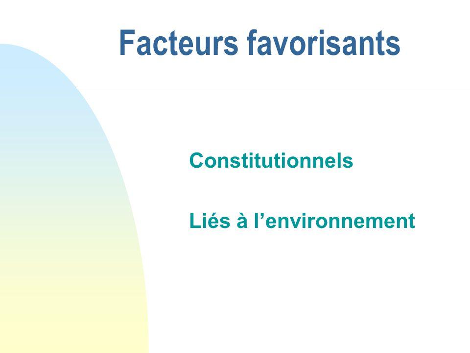 Facteurs favorisants Constitutionnels Liés à lenvironnement