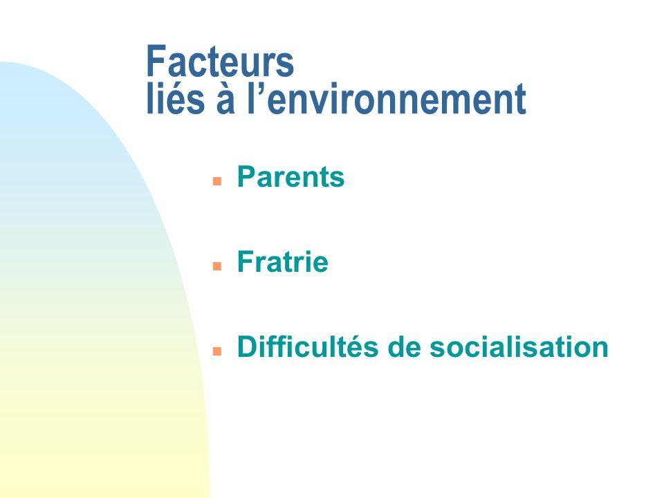 Facteurs liés à lenvironnement n Parents n Fratrie n Difficultés de socialisation