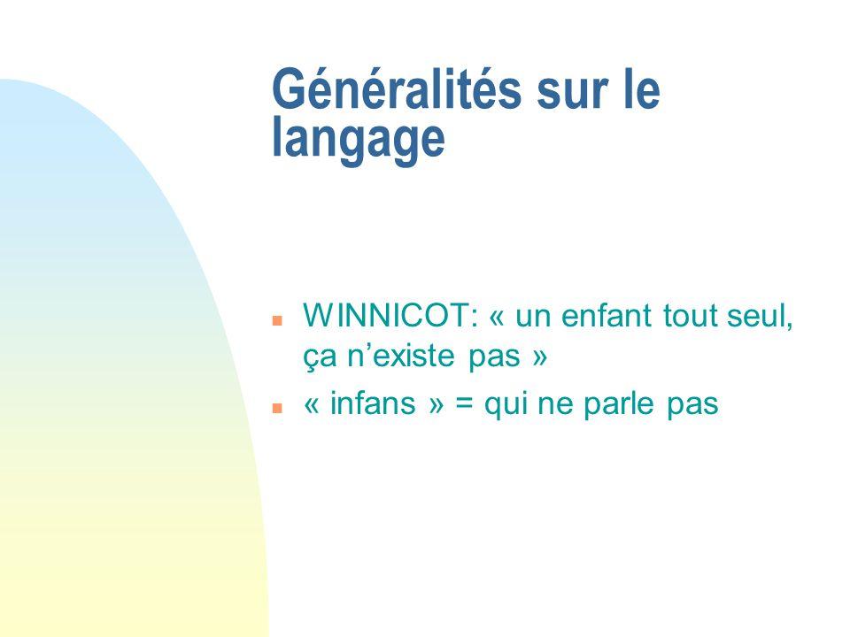 Généralités sur le langage n WINNICOT: « un enfant tout seul, ça nexiste pas » n « infans » = qui ne parle pas