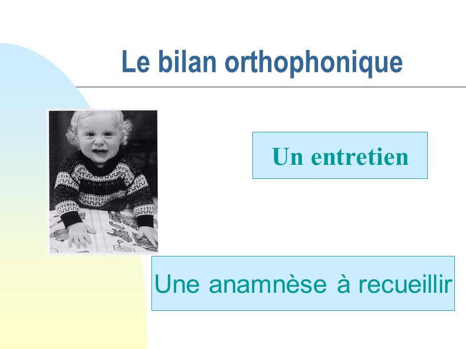 Le bilan orthophonique Un entretien Une anamnèse à recueillir