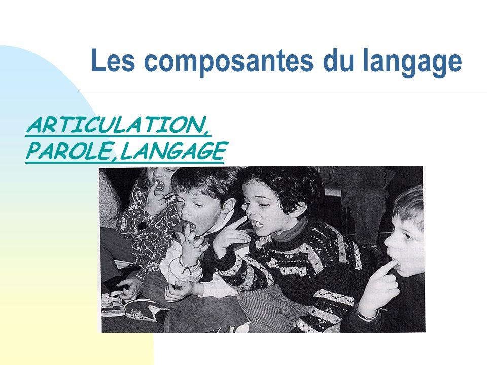 Les composantes du langage ARTICULATION, PAROLE,LANGAGE