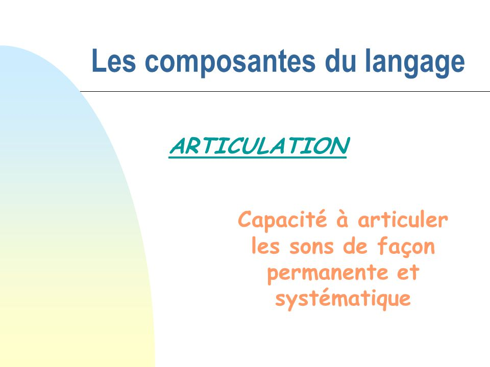 Les composantes du langage ARTICULATION Capacité à articuler les sons de façon permanente et systématique