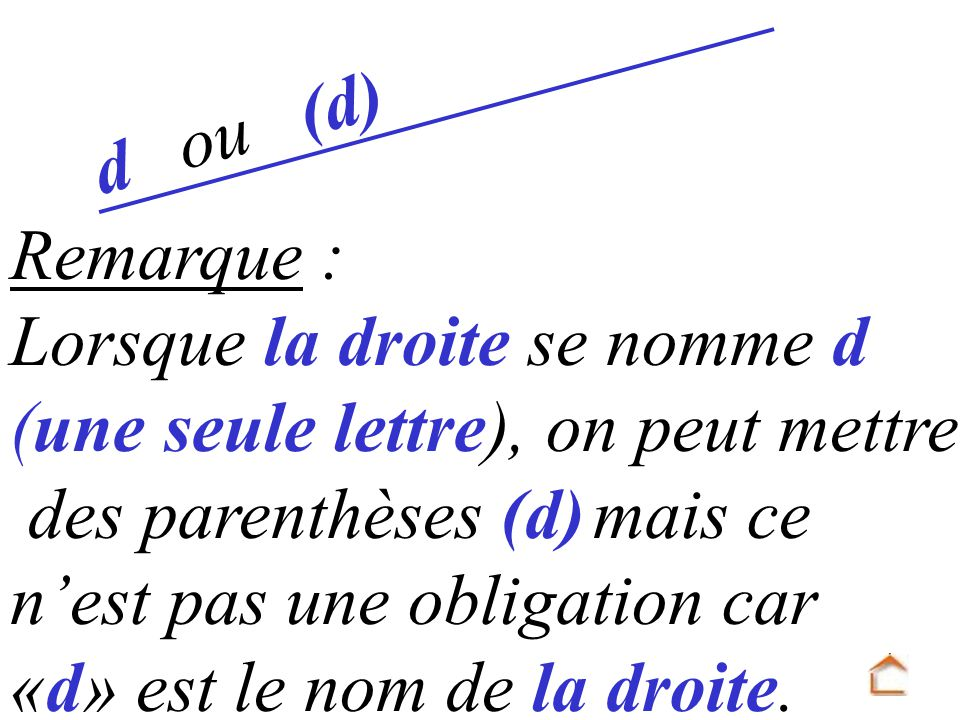 Remarque : Lorsque la droite se nomme d (une seule lettre), on peut mettre des parenthèses (d) mais ce nest pas une obligation car «d» est le nom de l