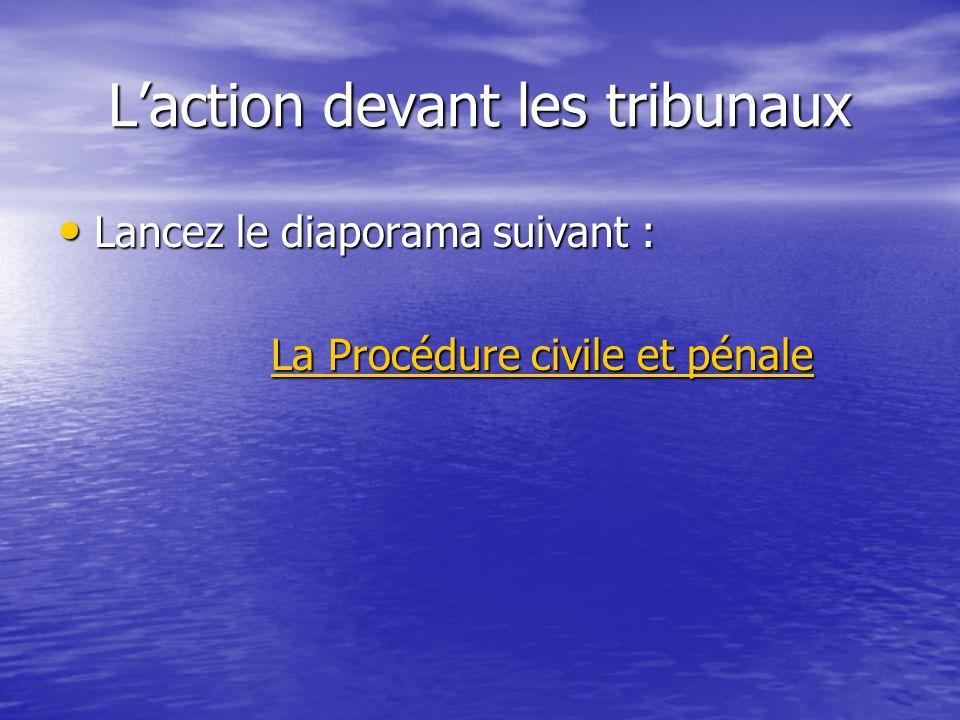 Laction devant les tribunaux Lancez le diaporama suivant : Lancez le diaporama suivant : La Procédure civile et pénale La Procédure civile et pénaleLa