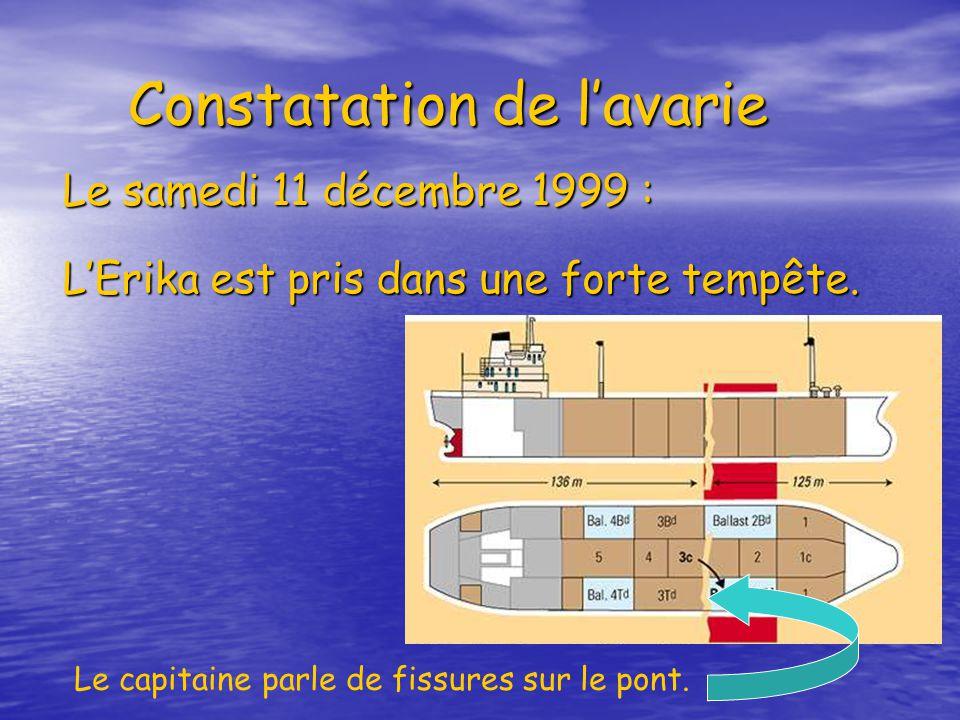 Constatation de lavarie Constatation de lavarie Le samedi 11 décembre 1999 : LErika est pris dans une forte tempête. Le capitaine parle de fissures su