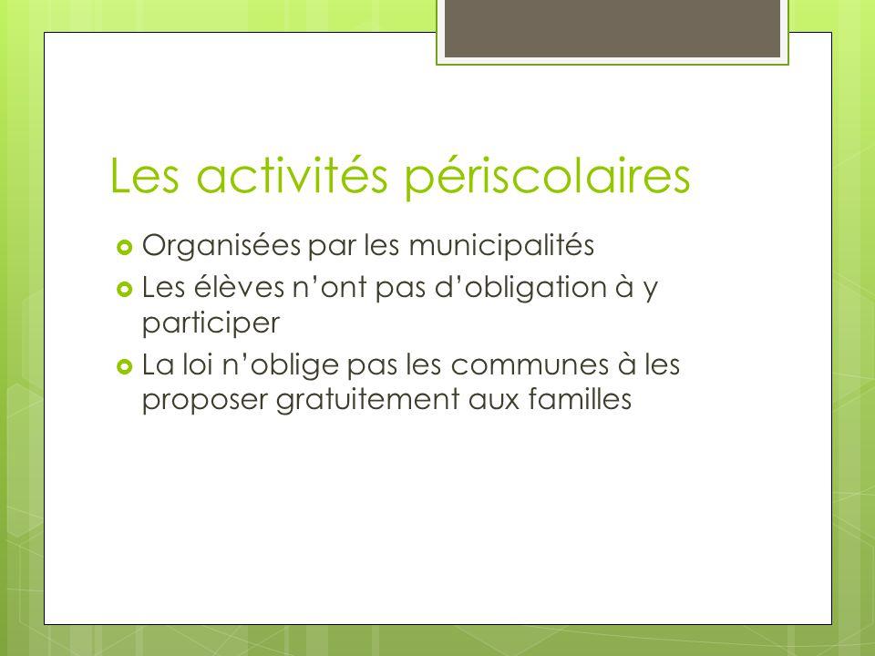 Les activités périscolaires Organisées par les municipalités Les élèves nont pas dobligation à y participer La loi noblige pas les communes à les proposer gratuitement aux familles