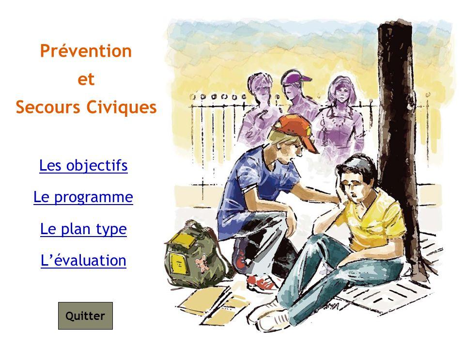 Les objectifs Le programme Le plan type Lévaluation Prévention et Secours Civiques Quitter