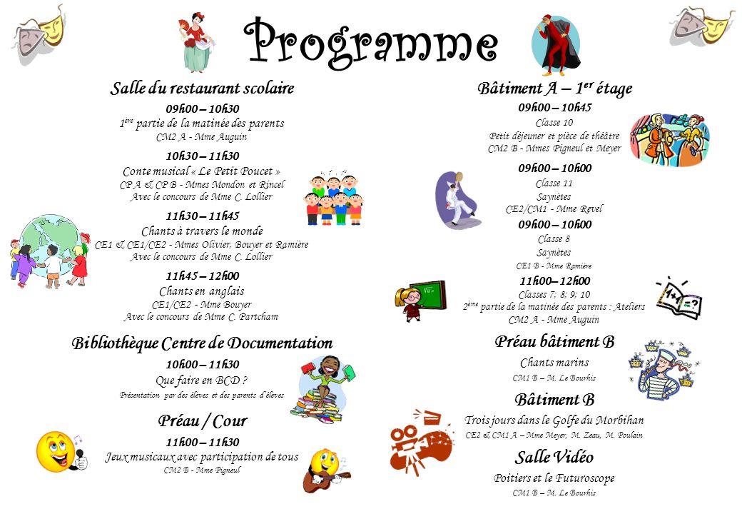 Programme Salle du restaurant scolaire 09h00 – 10h30 1 ère partie de la matinée des parents CM2 A - Mme Auguin 10h30 – 11h30 Conte musical « Le Petit
