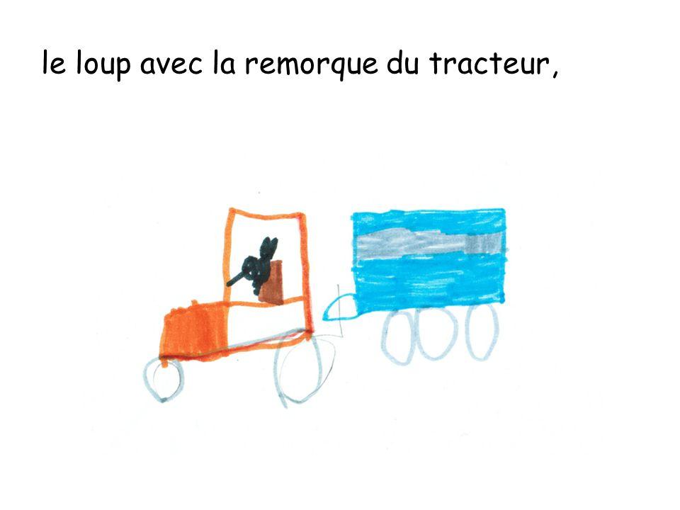 le loup avec la remorque du tracteur,