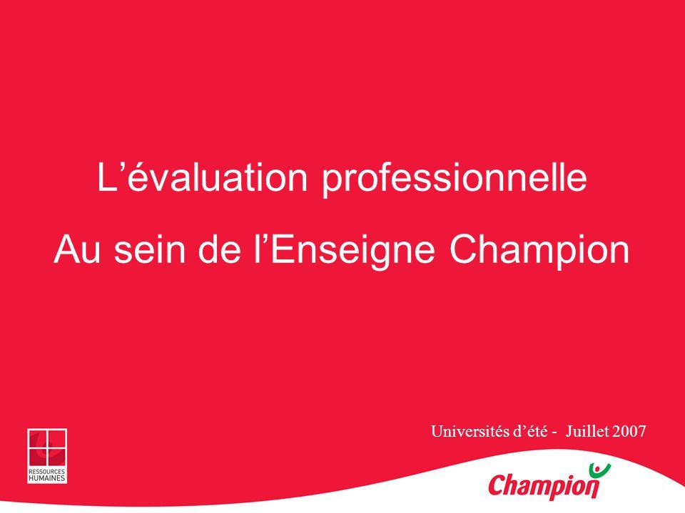 Lévaluation professionnelle Au sein de lEnseigne Champion Universités dété - Juillet 2007