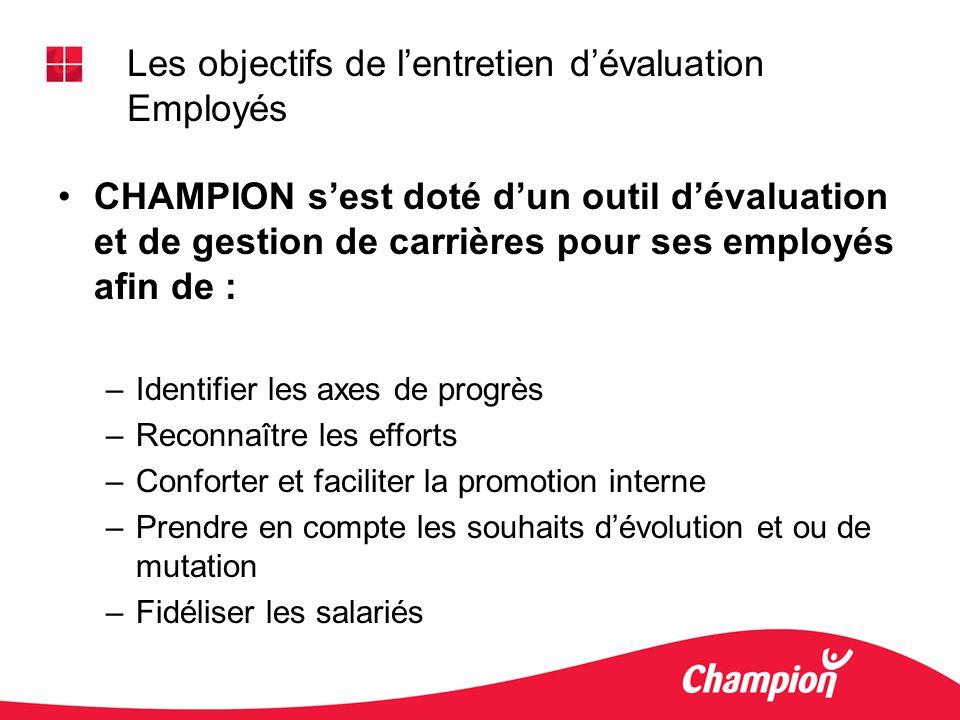 CHAMPION sest doté dun outil dévaluation et de gestion de carrières pour ses employés afin de : –Identifier les axes de progrès –Reconnaître les effor