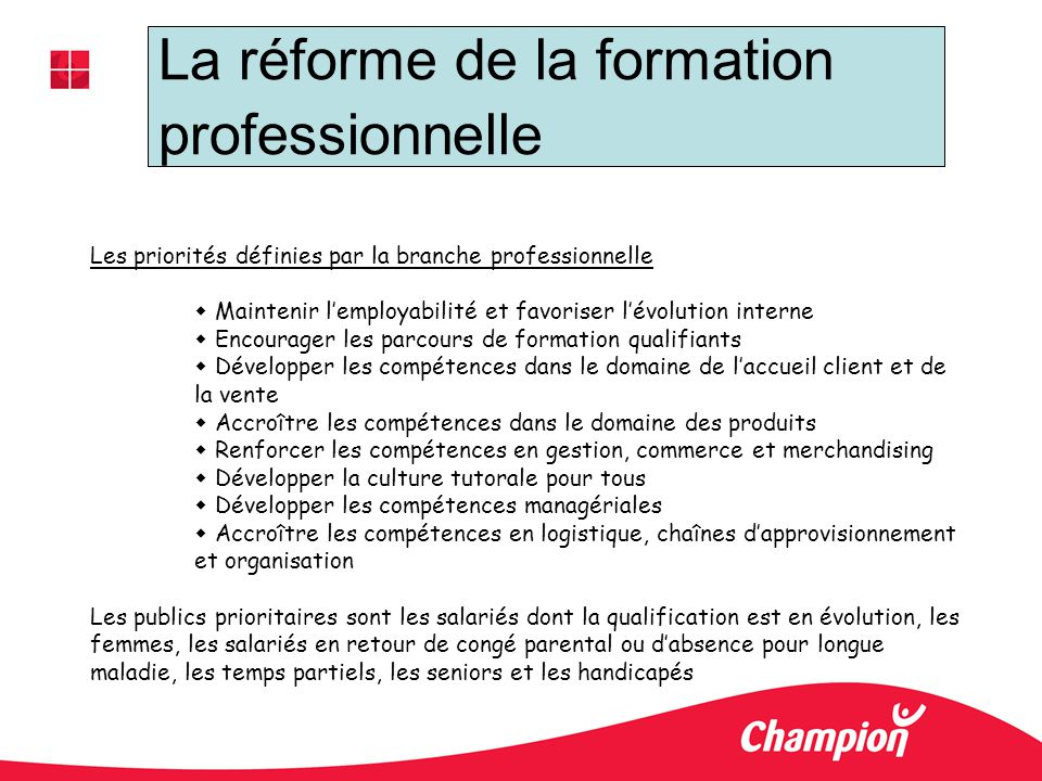 La réforme de la formation professionnelle Les priorités définies par la branche professionnelle Maintenir lemployabilité et favoriser lévolution inte