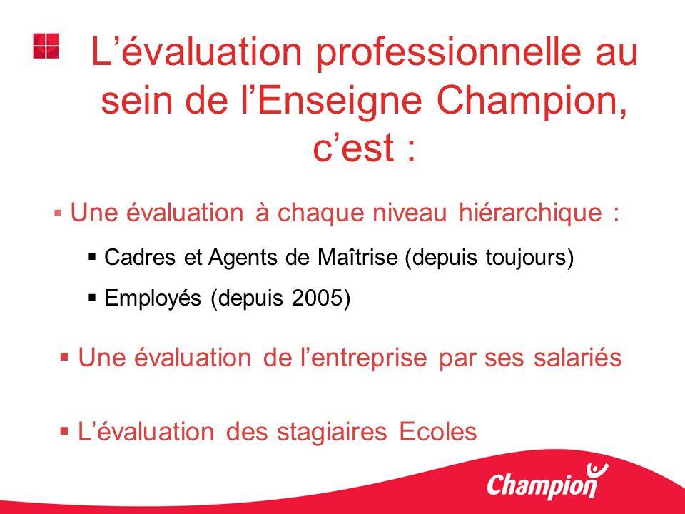 Lévaluation professionnelle au sein de lEnseigne Champion, cest : Une évaluation à chaque niveau hiérarchique : Cadres et Agents de Maîtrise (depuis t