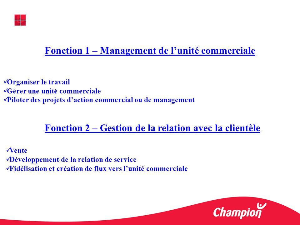 Fonction 1 – Management de lunité commerciale Organiser le travail Gérer une unité commerciale Piloter des projets daction commercial ou de management