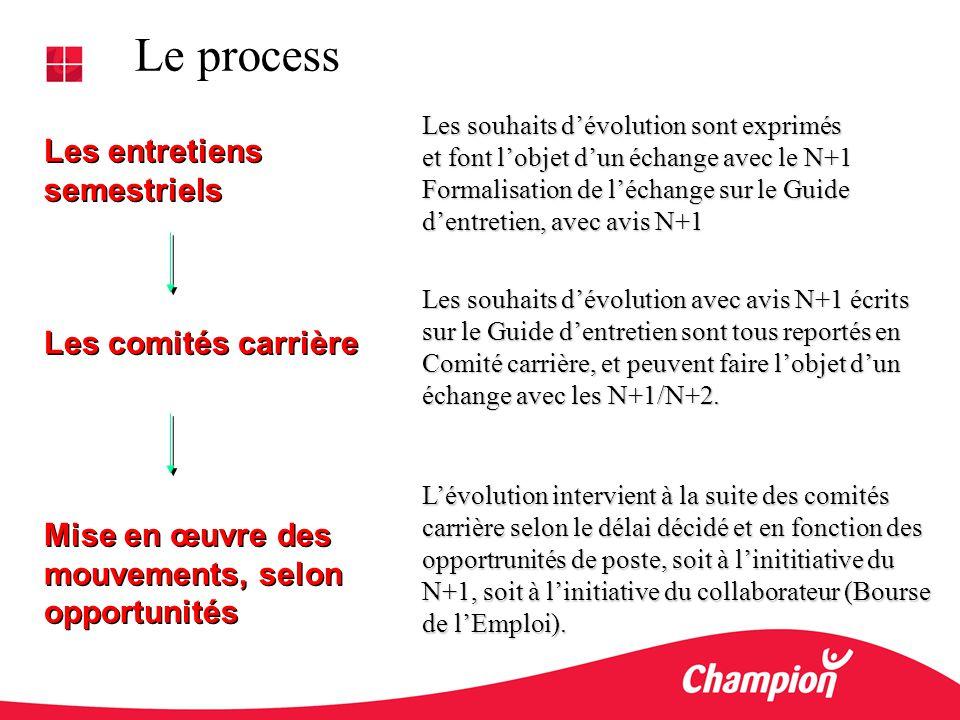 Le process Les entretiens semestriels Les comités carrière Mise en œuvre des mouvements, selon opportunités Les entretiens semestriels Les comités car