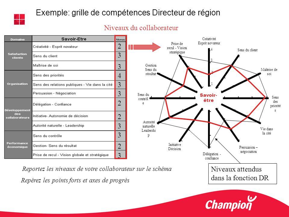 Reportez les niveaux de votre collaborateur sur le schéma Repérez les points forts et axes de progrès 4 3 1 2 2 3 3 4 3 3 2 2 3 3 2 3 Exemple: grille