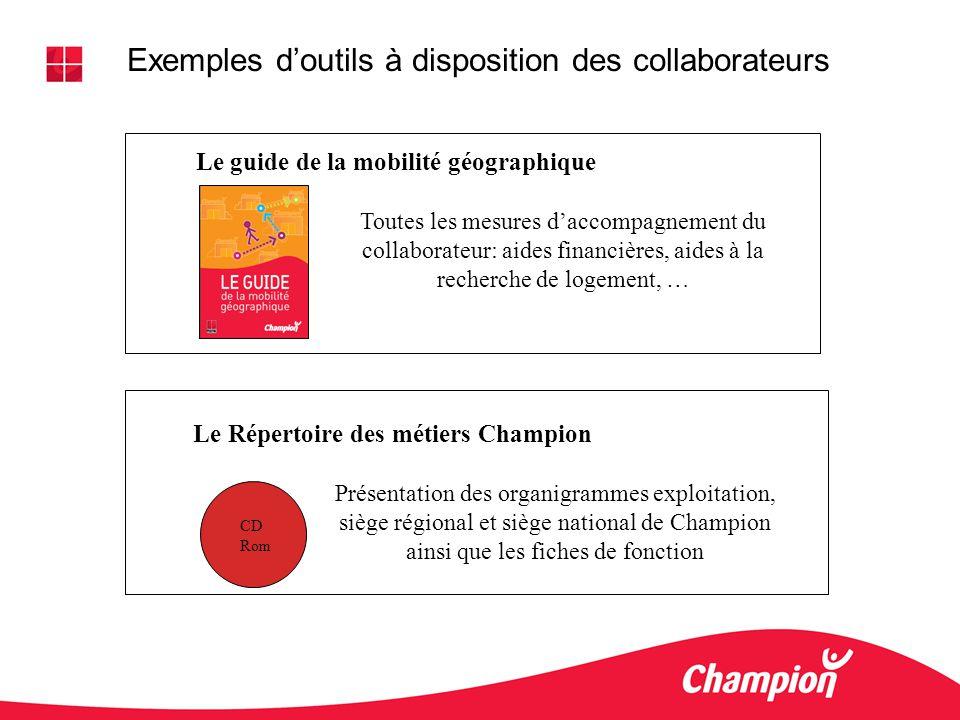 Exemples doutils à disposition des collaborateurs Le guide de la mobilité géographique Le Répertoire des métiers Champion Toutes les mesures daccompag