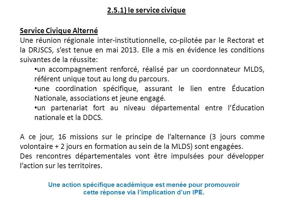 2.5.1) le service civique Service Civique Alterné Une réunion régionale inter-institutionnelle, co-pilotée par le Rectorat et la DRJSCS, sest tenue en mai 2013.