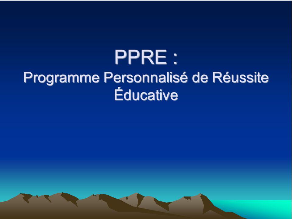 PPRE : Programme Personnalisé de Réussite Éducative