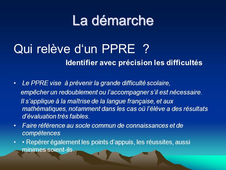 La démarche Qui relève dun PPRE ? Identifier avec précision les difficultés Le PPRE vise à prévenir la grande difficulté scolaire, empêcher un redoubl