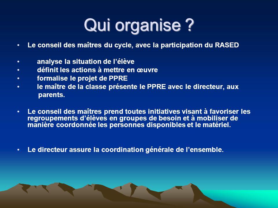 Qui organise ? Le conseil des maîtres du cycle, avec la participation du RASED analyse la situation de lélève définit les actions à mettre en œuvre fo