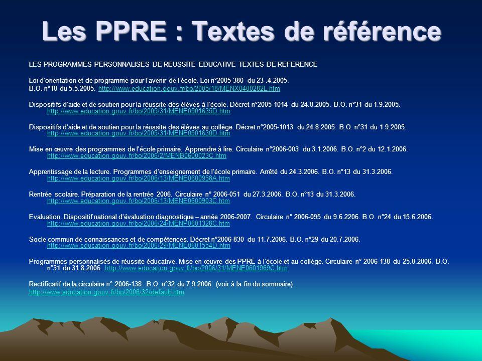 Les PPRE : Textes de référence LES PROGRAMMES PERSONNALISES DE REUSSITE EDUCATIVE TEXTES DE REFERENCE Loi dorientation et de programme pour lavenir de lécole.